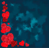 Ideale felice di giorno di biglietti di S. Valentino per la cartolina d'auguri o illustrazione del fondo con i cuori rossi di amo immagine stock libera da diritti