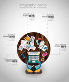 Ideale Werkruimte voor groepswerk en het brainsotrming met Vlakke stijl Stock Afbeelding
