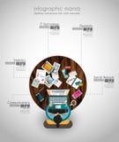 Idealer Arbeitsplatz für Teamwork und Brainsotrming mit flacher Art Stockbild