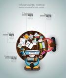 Idealer Arbeitsplatz für Teamwork und Brainsotrming mit flacher Art Stockbilder