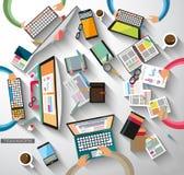 Idealer Arbeitsplatz für Teamwork und Brainsotrming mit flacher Art Lizenzfreie Stockfotografie