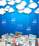 Idealer Wolkentechnologiehintergrund mit flacher Art Stockbilder