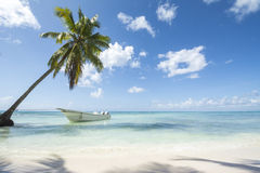 Idealic karibisk kustlinje med fartyget Royaltyfri Foto