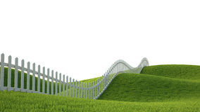 Idealistic landscape with fence. Idealistic landscape with grass and fence 3D render Royalty Free Stock Photography