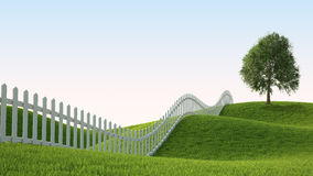 Idealistic Landscape With Fence Stock Photography