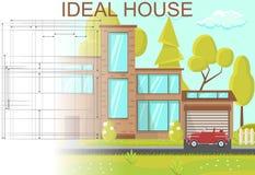 Idealt husbegrepp Plan illustration för vektor royaltyfri illustrationer