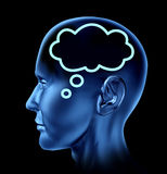 Ideas. Brain thought with word bubble symbol represented by a human head looking forward Stock Photo