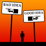 Ideas. Trying to differentiate between good ideas and bad ideas Stock Image