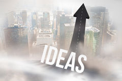 Ideas against road turning into arrow. The word ideas against road turning into arrow Royalty Free Stock Photos