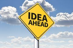 IDEAS AHEAD - conceptual roadsign... Royalty Free Stock Images