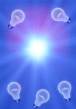 Ideas Background. Ideas Light Bulbs Background with Radiating Light royalty free illustration