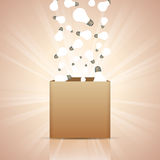 Ideas into the Box. Vector illustration of light bulbs pouring into the box vector illustration