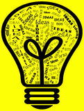 Ideas in a Bulb. Illustration showing bulb with different type of Ideas reflecting a person's creativity upon his success with the Ideas a person thinking off Stock Photography