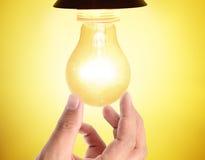 Ideas bulb light on  hand Royalty Free Stock Photo
