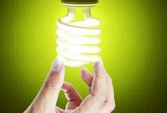 Ideas bulb light on  hand Stock Image