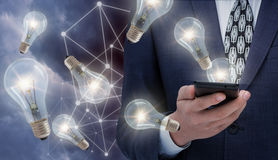 Ideas for business from Internet using mobile phones. Royalty Free Stock Photo