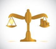 Ideas and cash on a balance illustration Stock Photo