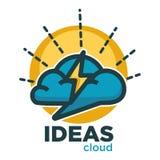 Ideas cloud of brain thunderbolt lightning vector flat icons for creative brainstorming. Ideas cloud icon or logo template of brain and thunderbolt lightning Royalty Free Stock Photography