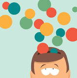Ideas coming out of head or mind. Cartoon illustration of ideas pouring out of head as circles with copy space Royalty Free Stock Photography