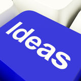 Ideas Computer Key In Blue Showing Concepts Or Creativity Stock Images