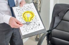 Ideas concept on a clipboard Royalty Free Stock Photography
