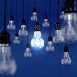 Ideas concept. 3d render of glowing light bulb. Ideas concept Royalty Free Illustration