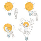 Ideas concept doodles. Process of finding solutions and making decision. Study of the object inside and outside. Set with lightbulb and man Stock Images
