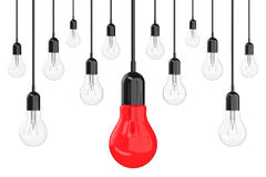 Ideas Concept. Many Light Bulbs with One Red in Centre. 3d Rende Stock Photography