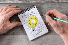 Ideas concept on a notepad Royalty Free Stock Image