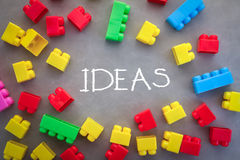 Ideas concept word with plastic block Royalty Free Stock Photos