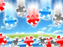Ideas concepts puzzles. Colorful falling ideas concepts puzzles illustration Stock Photo
