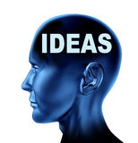 Ideas and creativity. Symbol represented by an isolated human head with the word idea on the brain Royalty Free Stock Images