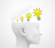The ideas. 3d generated picture of some light bulbs inside a human head vector illustration