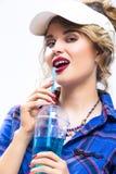 Ideas de la forma de vida de la juventud Mujer rubia caucásica provocativa atractiva adentro fotografía de archivo