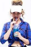 Ideas de la juventud de la forma de vida Mujer rubia caucásica provocativa atractiva fotografía de archivo libre de regalías
