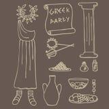 Ideas de la parte del griego clásico, elementos de Grecia Foto de archivo libre de regalías