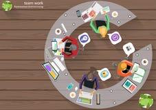 Ideas de la reunión de reflexión de la esquina del top del lugar de trabajo del negocio del vector para una tarea, ordenador de l Imagenes de archivo