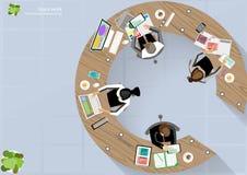 Ideas de la reunión de reflexión de la esquina del top del lugar de trabajo del negocio del vector para una tarea, ordenador de l Foto de archivo libre de regalías