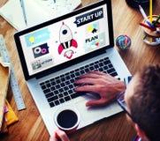 Ideas de lanzamiento Team Success Concept del planeamiento de la innovación Foto de archivo libre de regalías
