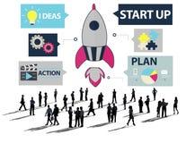 Ideas de lanzamiento Team Success Concept del planeamiento de la innovación Imagen de archivo libre de regalías