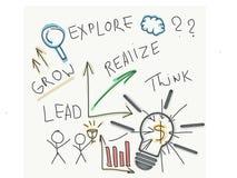 Ideas de lanzamiento y creativas a continuación Foto de archivo