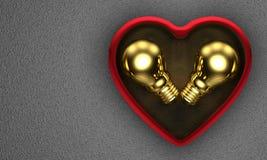Ideas de oro para el presente del día de tarjeta del día de San Valentín del santo Foto de archivo