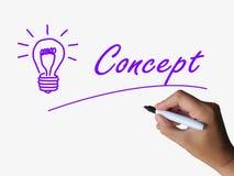 Ideas del concepto de la demostración del concepto y de la bombilla Imagenes de archivo