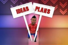 ideas del hombre 3d y ejemplo del plan Imagen de archivo libre de regalías