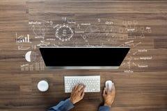 Ideas del plan de la estrategia del éxito empresarial del dibujo del pensamiento creativo Imagen de archivo libre de regalías