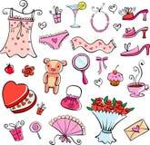 Ideas del regalo para la muchacha stock de ilustración