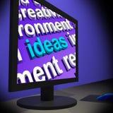 Ideas en el monitor que muestra las nuevas invenciones s Fotos de archivo libres de regalías