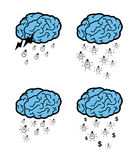 Ideas falling from a brain cloud Royalty Free Stock Image
