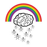 Ideas falling from a brain cloud with rainbow Stock Image