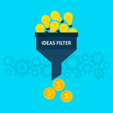 Ideas Filter Flat Concept. Ideas Filter Flat Style Concept. Vector Illustration of Data Funnel and Creative Process Royalty Free Stock Photos